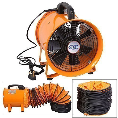 Industrie Extraktor Tragbarer Ventilator Luft Axial Metall Gebläse Kommerzieller Auspuff Werkstatt Ventilation Lüfter Mit 5 meter Rohr - 25cm mit Röhre - Metall-luft-gebläse