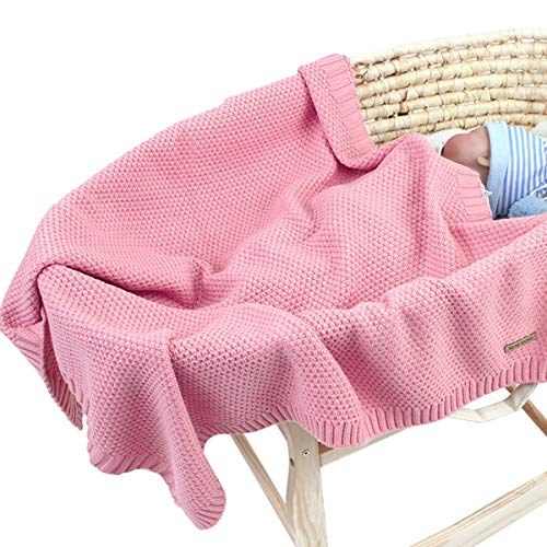 Fsskgx Manta de punto para bebé Cunas de tiro suave Cochecito Mantas para niña de niños pequeños