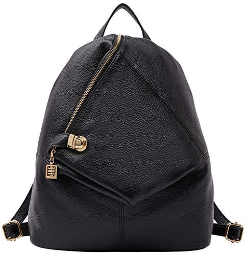 Rucksack aus echtem Leder für Damen Shoulder Fashion Bag Satchel Tagesrucksack, Schwarz, Medium -