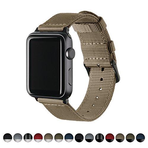 Archer Watch Straps | Repuesto de Correa de Reloj de Nailon para Apple Watch, Hombre y Mujer | Caqui/Negro, 42mm
