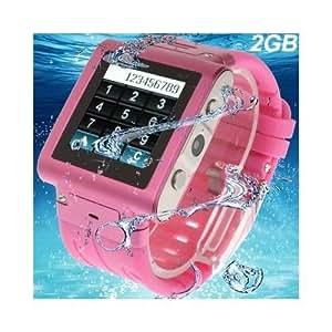Montre téléphone waterproof caméra photo MP3 MP4 Micro SIM Rose