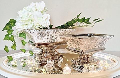 Keramik Dekoschale Schale Tisch Deko Hochglanz Keramikschale ROSEN Weiß-Silber (Groß)