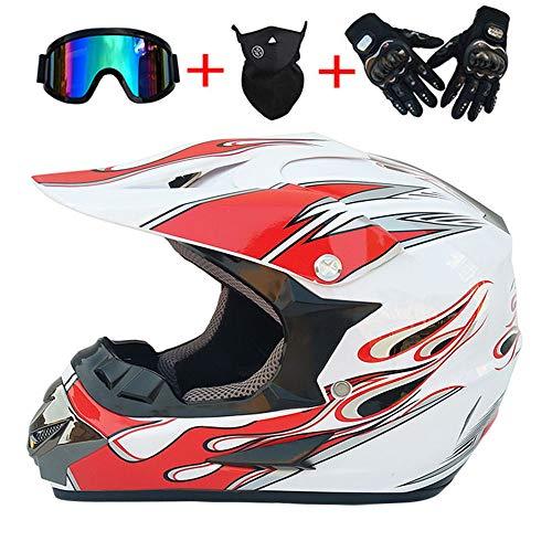 ZHYY Motorradhelm Leopard Offenes Gesicht MX ATV DOT Erwachsener Roller Berg Motorrad Quad Motocross Enduro Sporthelm, Handschuhe, Brille, Maske 4-teiliges Set (Weiß + Rote Flamme),M