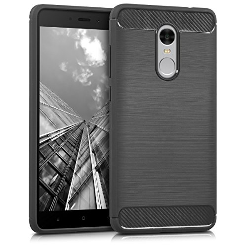 kwmobile Hülle für Xiaomi Redmi Note 4 / Note 4X - TPU Silikon Backcover Case Handy Schutzhülle - Cover Brushed Carbon Design Anthrazit
