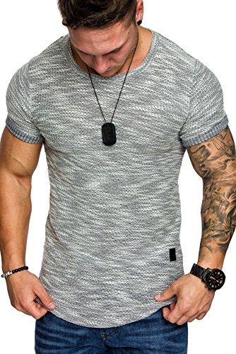 Amaci&Sons Oversize Vintage Herren Zipper Shirt Sweatshirt Crew-Neck 6042 Grau M