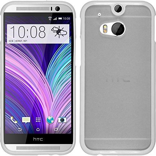 Preisvergleich Produktbild PhoneNatic Case für HTC One M8 Hülle weiß Frame Hard-case + 2 Schutzfolien