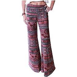 Impresión Pierna Ancha Estilo Étnico Modelada Pantalón De Pierna Ancha Sueltos Pantalones Del Deporte Como en la Foto S