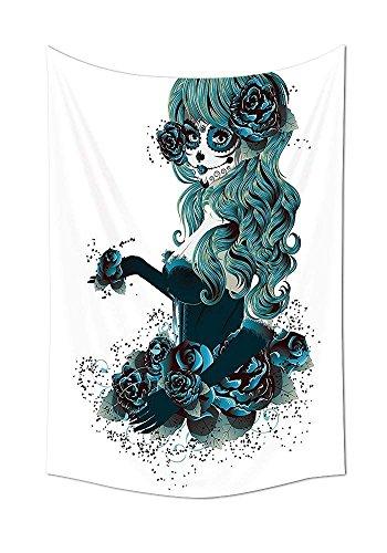Collection Vintage Sugar Skull Girl Day Of The Dead Bride mit Dunkle Farbe Roses Graphic Art Schlafzimmer Wohnzimmer Wohnheim Wand Tapisserie Pfau Weiß, multi, 39.3W By 59L Inch ()