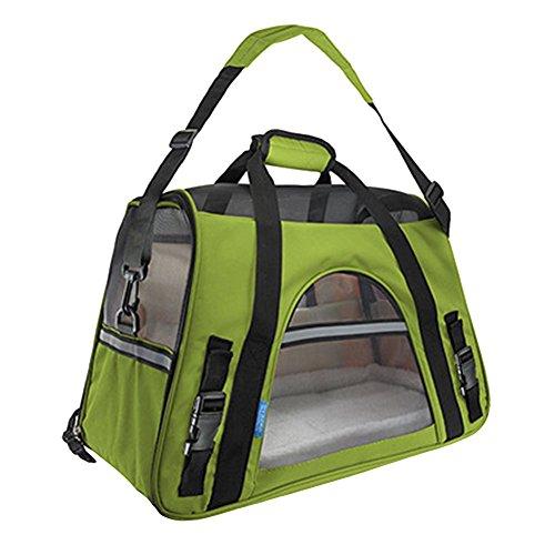 Faltbare Transportbox für Haustiere, Travel Weiche Seiten Tasche Haustier Träger für Hunde & Katzen Zitrone Grün Large