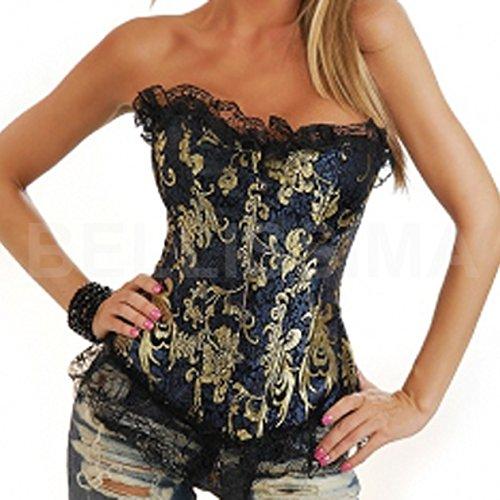 bustino corpino top pizzo corsetto nero oro corset sexy bustier corpetto-nero-XL