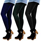 Libella 3er Set Winterleggings Skinny Thermoleggings Laufhose mit Pünktchen Norweger Teddy-Innenfleece Frauen/Mädchen 4146 Schwarz+Grün+Marienblau