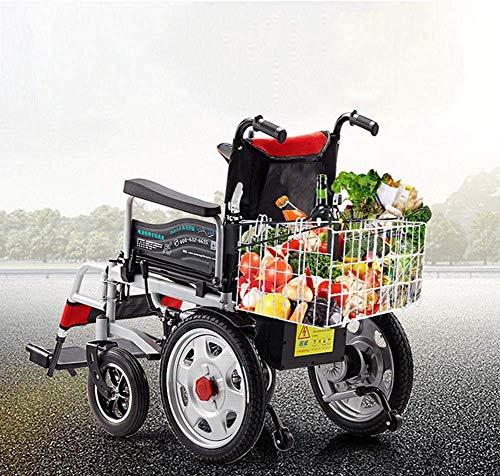 SISHUINIANHUA Elektrorollstuhl, Rollstuhl mit Behinderung aus Kohlenstoffstahl, Elektrorollstuhl für ältere Menschen, Leichter Klapprollstuhl,Red -
