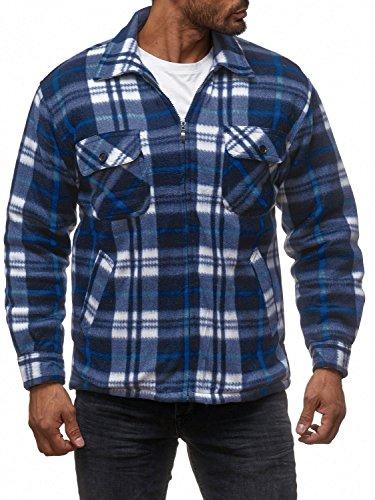 Herren Fleece Jacke Holzfäller Hemd Thermo Flanell Sweat Shirt H2070,Schwarz-Blau,M