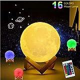 Amouhom 15cm LED Mond Lampe mit Fernbedienung 16 Lichtfarben Mondlicht Tragbares Nachtlicht mit Touchschalter Eingebaut Batteriebetrieben für Wohnzimmer, Geschenk für Kinder und Liebhaber