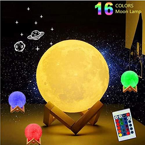 Amouhom 15cm LED Mond Lampe mit Fernbedienung 16 Lichtfarben Mondlicht Tragbares Nachtlicht mit...