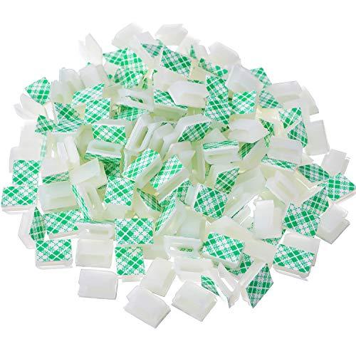 200 pezzi bianco fermagli per cavi adesivi cavo auto cavo di collegamento cavo di gestione morsetti per cavi organizzatore di portafilo per automobile, ufficio e casa