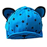Leisial Gorra de Béisbol con Algodón Sombrero del Gatito Sombrero de Sol Gorra de Visera de Protección Solar Verano Para Bebé Niños,Azul