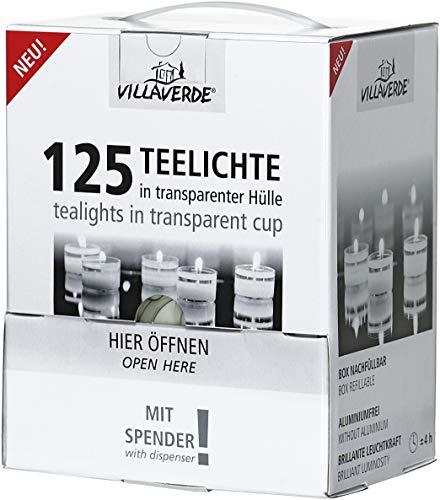 125 Teelichter, Teelichte, im Acrylbecher, PVC-Becher, Acryl-Cup 4 Stunden Brenndauer -