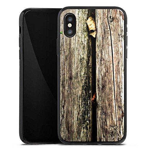 Apple iPhone X Silikon Hülle Case Schutzhülle Planken Moos Holz Look Silikon Case schwarz