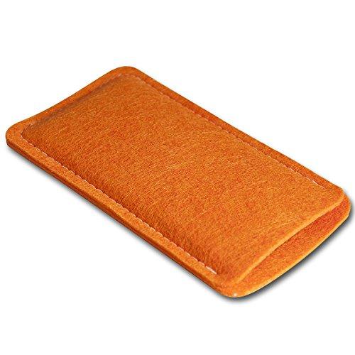 Filz Style Apple iPhone 6 / 6S Premium Filz Handy Tasche Hülle Etui passgenau für Apple iPhone 6 / 6S - Farbe rosa orange
