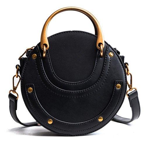 Misonz Frauen Tragetaschen Tasche Circular Leder Retro Marke Metall Ring Handtasche Einheitsgröße Schwarz