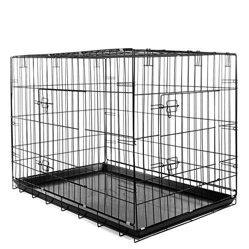 Happypet Transportbox Hundekäfig Reisebox (B x L x H) 71 x 105 x 77,5 cm Faltbar in Schwarz