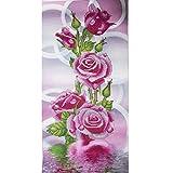 5d DIY Diamant Peinture Fleur Rose Motif broderie point de croix Fleurs Décoration murale