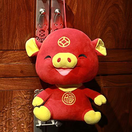 (DONGER Pig Year Maskottchen Schwein Spielzeug Puppe Puppe Zodiac Schwein Puppe Unternehmen Urlaub Geschenk Fu Schwein, Jinfu Schwein Maskottchen, 20 cm Stirnband Lanyard)