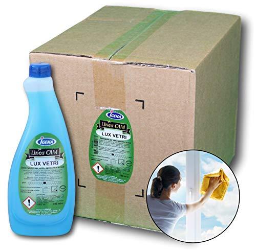 IGENA Detergente per la pulizia di vetri e specchi pronto all'uso LUX VETRI 750 ml - Confezione da 12 flaconi + 2 spruzzini