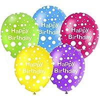 POLKA DOT HAPPY BIRTHDAY LATEX BALLOONS PACK OF 12