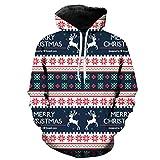 Soupliebe Weihnachten Frauen Schneeflocke Print Sweatshirt Pullover Bluse Shirt Kapuzen Langarmshirt Sweatjacke Kapuzenpullover Hoodie