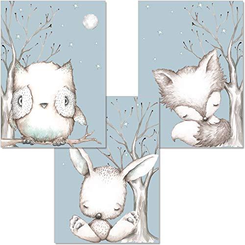 artpin® 3er Set Poster Kinderzimmer - Kinderposter Babyzimmer - A4 Bilder Für Mädchen Junge - Mond Waldtiere Hase Eule Fuchs P3