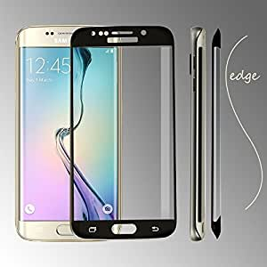 Dashmesh Shopping Anti Explosion Premium Tempered Glass, 9H Hardness 2.5D Curved Edge, Anti-Scratch, Bubble Free & Oil Stains Coating for Samsung Galaxy S6 Edge PLUS - Black with Complimentary Prep cloth