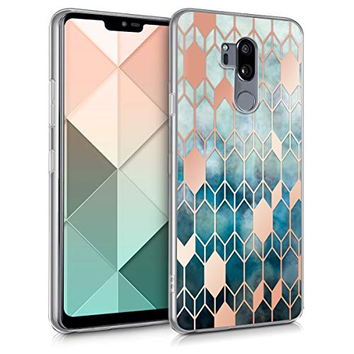 kwmobile LG G7 ThinQ/Fit/One Hülle - Handyhülle für LG G7 ThinQ/Fit/One - Handy Case in Blau Rosegold