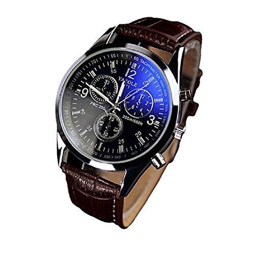 Fandecie hombre de negocios de la correa de cuero de imitación Blue Ray cristal de cuarzo relojes de pulsera analógico
