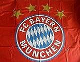Fahne FC Bayern München Logo - rot 150 x 100, plus gratis Sticker München forever, rapeau / bandera / Flag / Flagge / Banner Munich