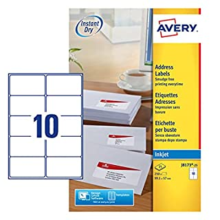 Avery J8173-25 (99.1 x 57.0mm) Self-Adhesive Address/Mailing Labels, 10 Labels per A4 Sheet