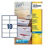 Avery J8163-25 - Etiquetas imprimibles para direcciones (250 etiquetas, 10 por hoja, 99,1 x 57 mm, para impresora de inyeccin de tinta, secado rpido), color blanco