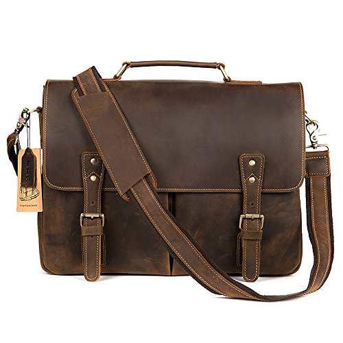 Kattee Mens Leather Briefcase,15 Inch Laptop Messenger Satchel Shoulder Bags Coffee