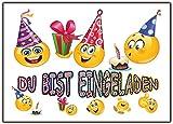 12er Set Smiley Einladungskarten Kindergeburtsatg lustig witzig Party Feier Jungen Mädchen Geburtstag Party Feier Kinder Einladung Teen Kita