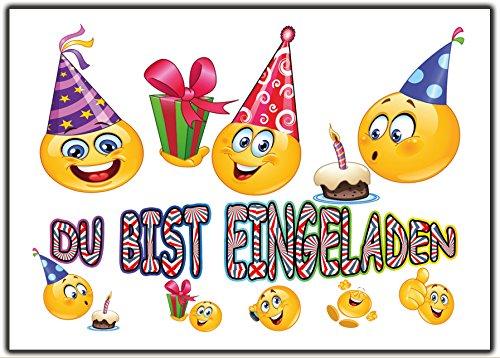 Preisvergleich Produktbild 12er Set Smiley Einladungskarten Kindergeburtsatg lustig witzig Party Feier Jungen Mädchen Geburtstag Party Feier Kinder Einladung Teen Kita