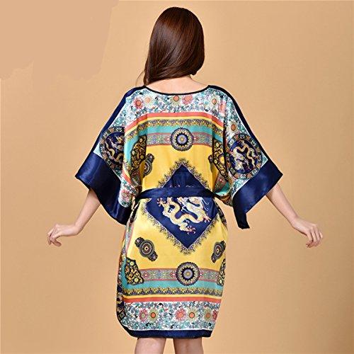 BigForest Damen Batwing Sleeve Pullover Satin Negligee Plus Size Schlafanzug Nachtkleid Set D Red