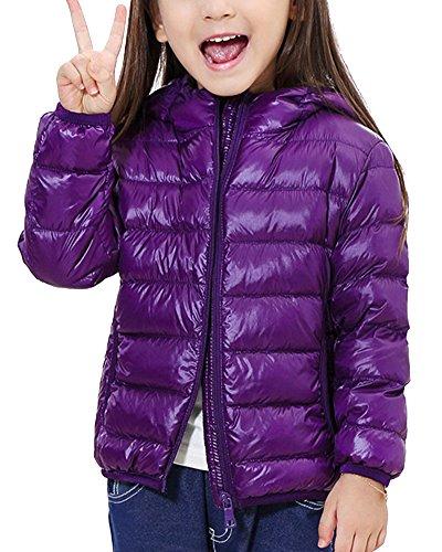 Chaqueta de Invierno Plumón con Capucha Ligero Corta Abrigo Parka para Infantil Niños Niñas Morado Oscuro 120