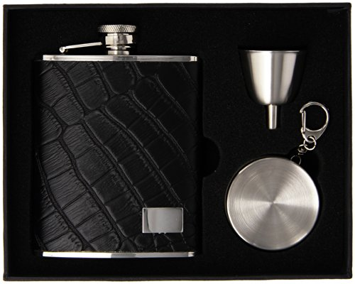 visol-beau-monde-black-leather-and-crocodile-finish-stellar-flask-gift-set-6-ounce
