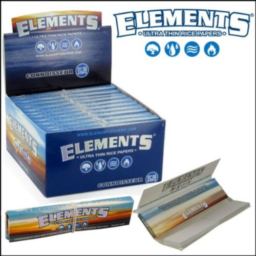 Elements Connoisseur, cartine in carta di riso, king size, slim, ultra sottili, con filtrini; 24...