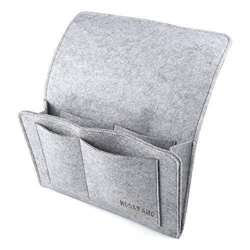 HOGAR AMO Dicke Filz-Bett-Caddy-Organizer Betttasche Sofa Hängeaufbewahrung für Handy, iPad, Brille, Buch, Fernbedienung, 4 Taschen & Seitenloch für Aufladungskabel 32 x 20cm Grau