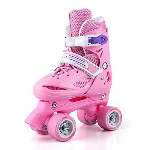 Patins à roulettes pour filles enfant ,roller quad skates(rose, 27-30)