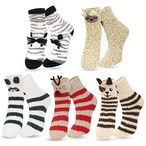 ECOMBOS Damen Socken Winter, Kuschelsocken Warme Weihnachtssocken Flauschig Haussocken Dicke Damen Geschenk Socken für Frauen und Mädchen, Tier-a, Einheitsgröße -