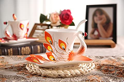 Panbado Hand Crafted Franz Porcelain Enamel Graceful Sculptured Fine Arts China Peacock Water Tea Coffee Cup Mug Set with Saucer and Spoon Artwork Mugs-