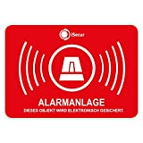 Lot de 5 autocollants d'indication d'alarme iSecur - 50 x 35 mm - Pour fenêtre, maison, voiture, camion, engin de construction